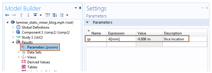 Screenshot showing how to define the parameter in COMSOL Multiphysics® version 5.2a.