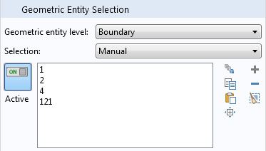 Geometric entity selection tab.