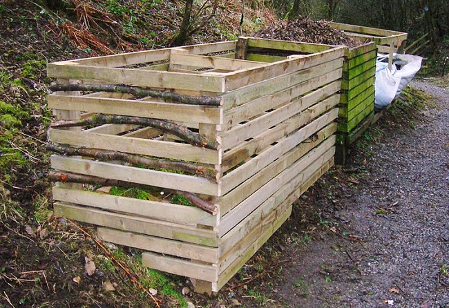 An image of a homemade bin for composting.