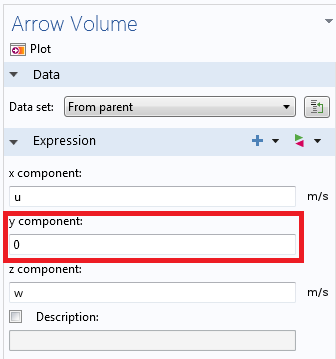 Settings window for arrow components.