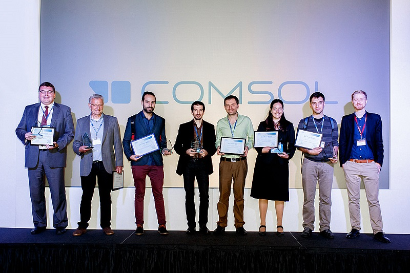 Photo featuring award winners at the COMSOL Conference 2014 Cambridge.
