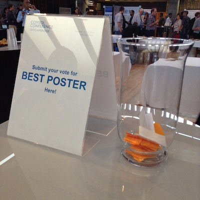 Sign advertising Best Poster voting at the COMSOL Conference 2014 Cambridge.