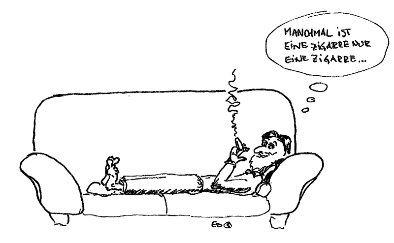 Cartoon depiction of smoking.