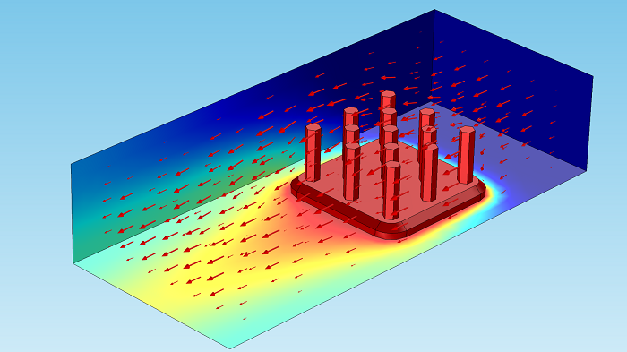 Arrow volume plots shown in a heat sink.