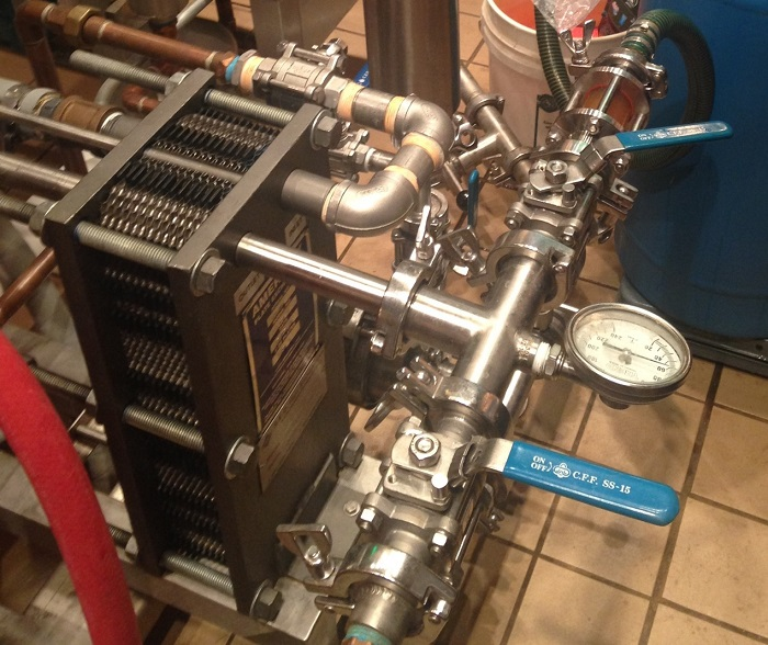 In the beer brewing process, a plate heat exchanger is used to cool down beer.