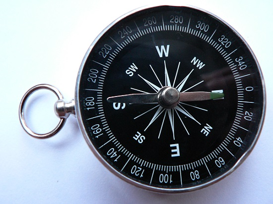 A photo of a magnetic compass.
