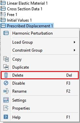 Screenshot of how to delete the Prescribed Displacement 1 node within the Truss interface.