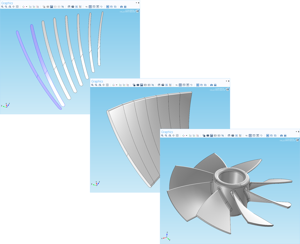 A collage showcasing the lofting command available in the new Design Module from COMSOL.