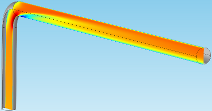 Image of slice plots in a pipe elbow model.