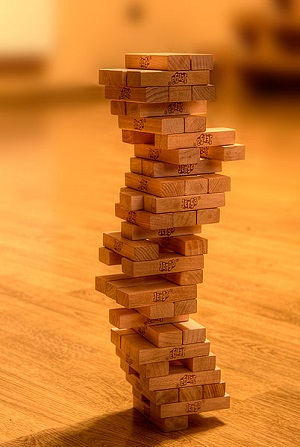 A JENGA tower.