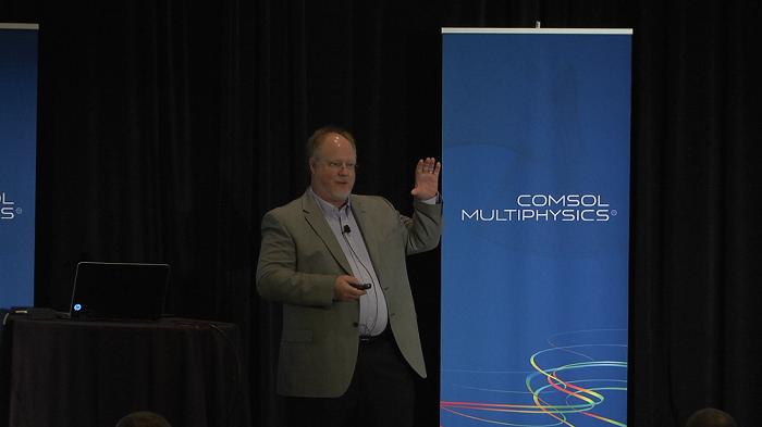 A photo of keynote speaker James D. Freels at COMSOL Conference 2014 Boston.