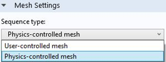 Screenshot of using a Physics controlled mesh in the mesh settings  window.