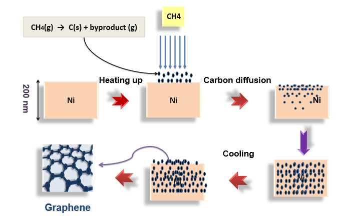 The growth of graphene on nickel (Ni) through chemical vapor deposition.