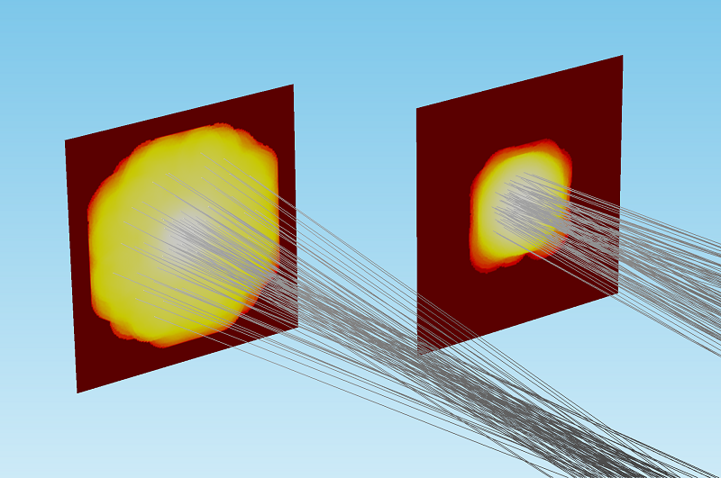 Image comparing deposited ray power from different beams.