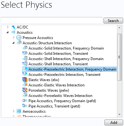A list of acoustics physics interfaces.