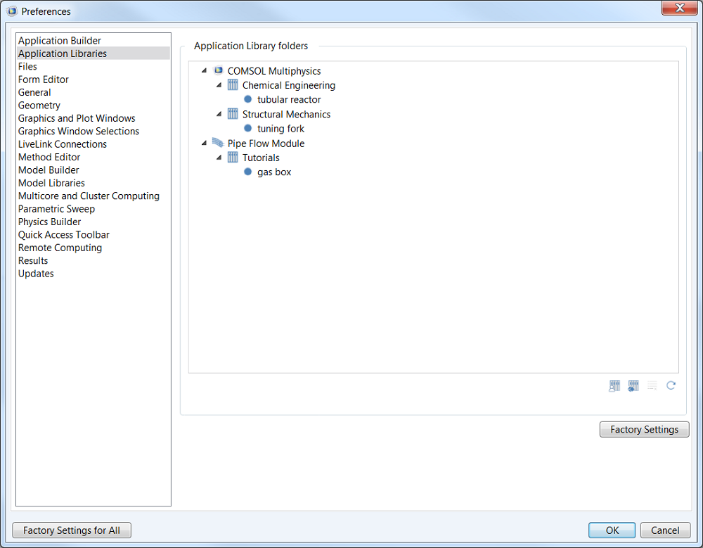 Adding your own Application Library with COMSOL Multiphysics version 5.0.