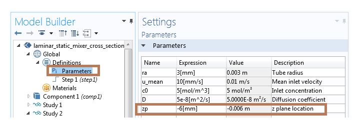 Adding a parameter in COMSOL Multiphysics.