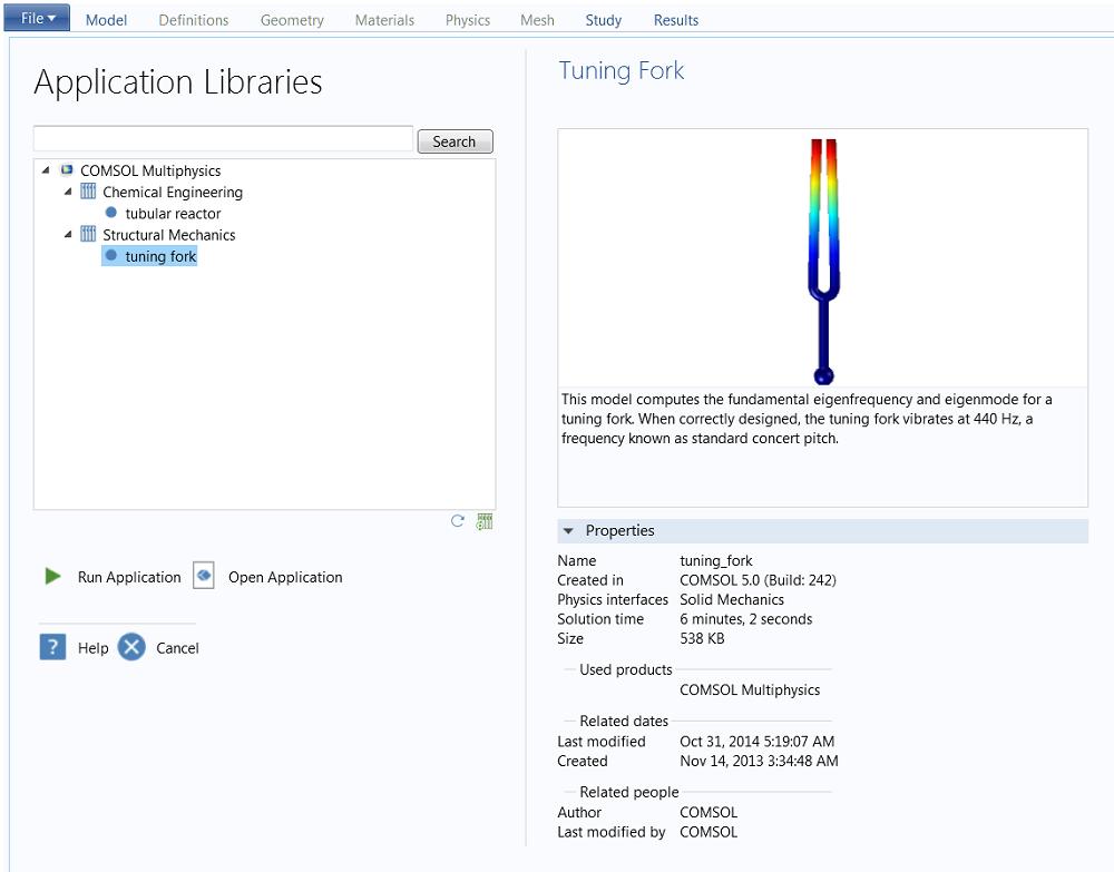 Application Libraries screen.