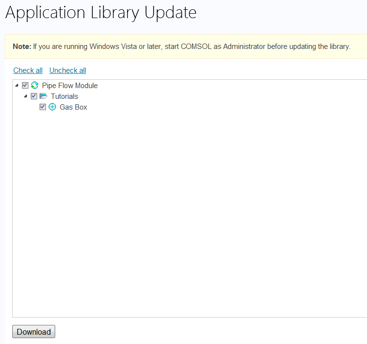 Application Library update.
