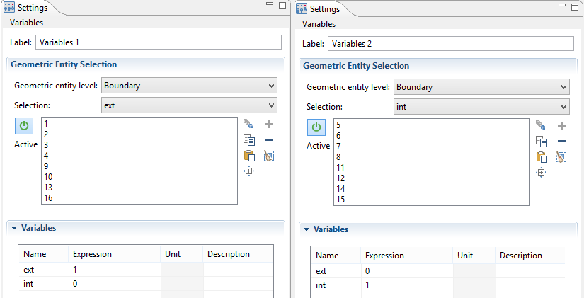 The Geometric Entity Selection settings in COMSOL Multiphysics.
