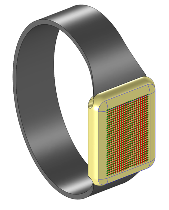 A model of a capacitive sensor on a wristwatch.