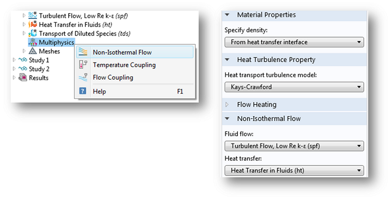 Node settings defining non-isothermal flow properties.