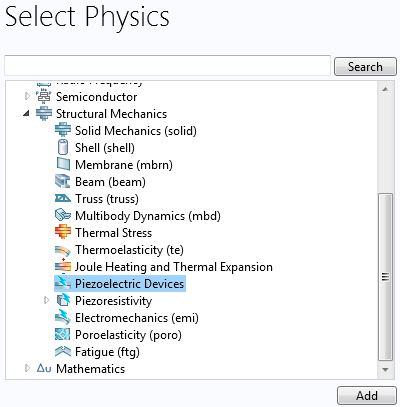 The Piezoelectric Devices interface in COMSOL Multiphysics.