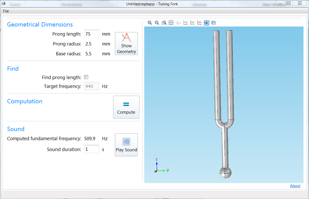 Running the Tuning Fork application.