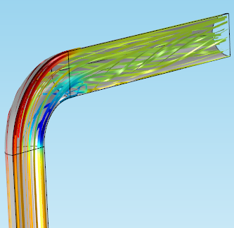 Image highlighting the extent of pressure in the pipe elbow.