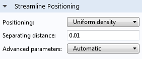 Uniform density positioning in the settings window.