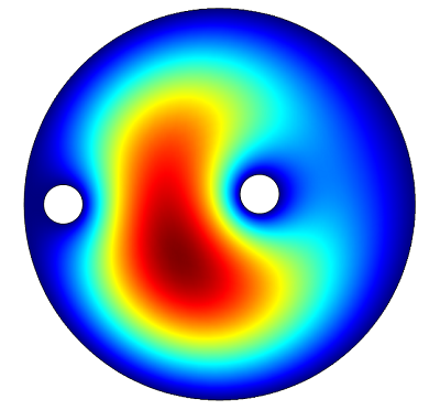 A 2D simulation showing the electric field in the microwave cavity.