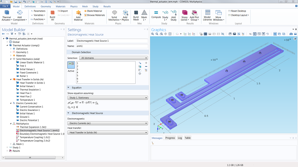 A screenshot showing the COMSOL Multiphysics user interface.