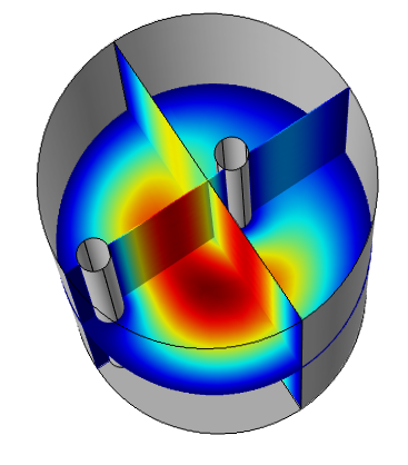 Electric field distribution in the 3D model.