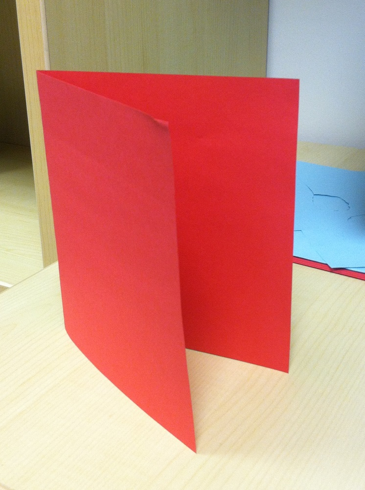 3. Using the other piece of paper, fold it in half horizontally.