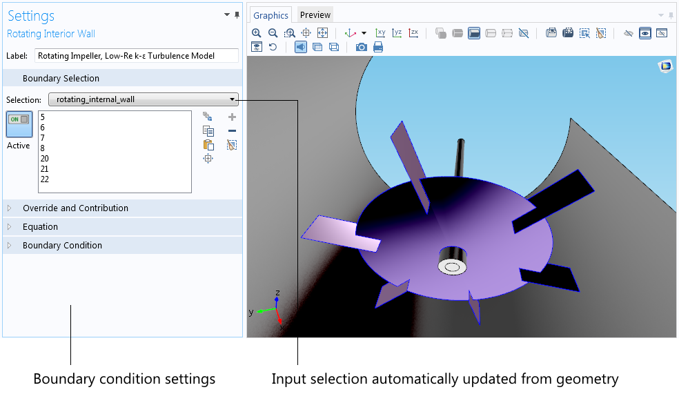A model highlights the automatic update of the input selection.