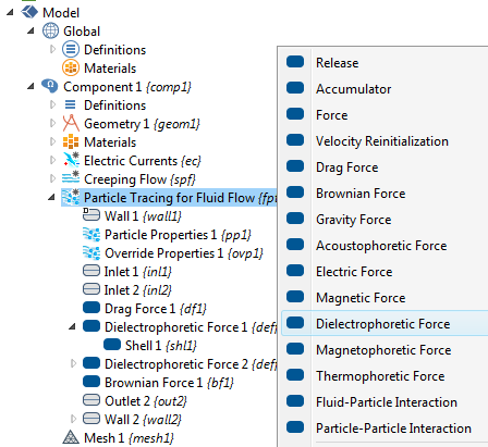 A screenshot highlighting different particle force options.