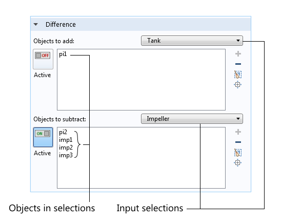 Screenshot of the Boolean operation called Difference.