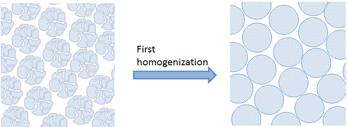 Image shows a first homogenization.