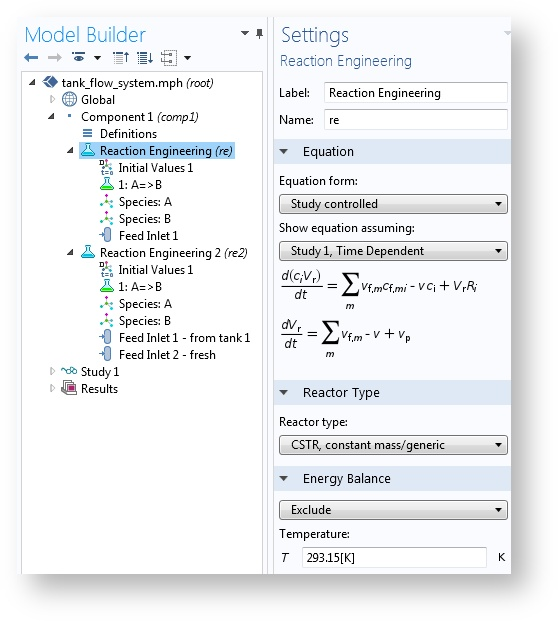 A screenshot of the Reaction Engineering interface in COMSOL Multiphysics.