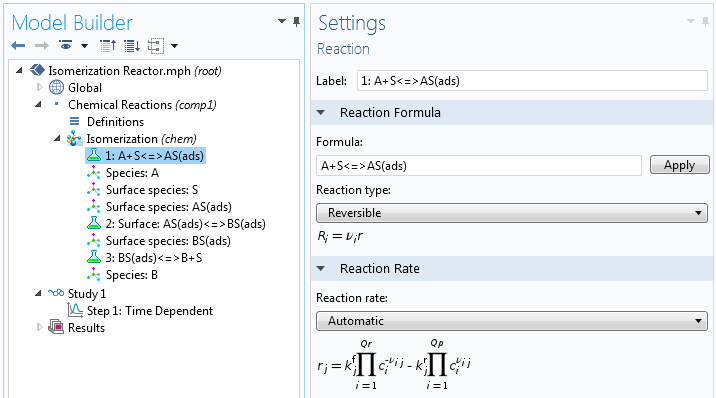 A screenshot illustrating the reaction settings in COMSOL Multiphysics.