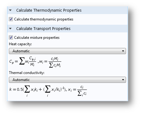 A screenshot showing thermodynamic and transport properties.