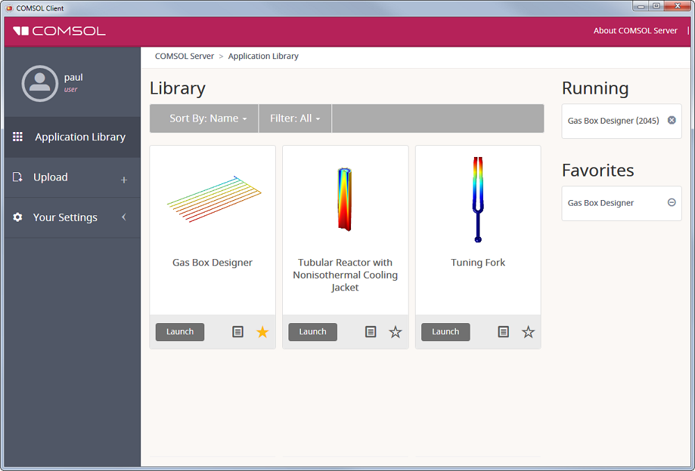 The Application Library in COMSOL Client.