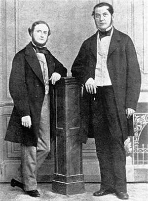 A photo of Bunsen and Kirchhoff.