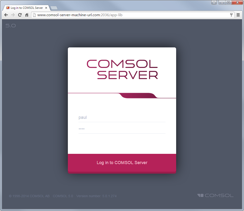 The COMSOL Server™ running in a web browser.
