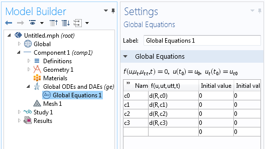 Entering the Global Equations used to solve for the coefficients.