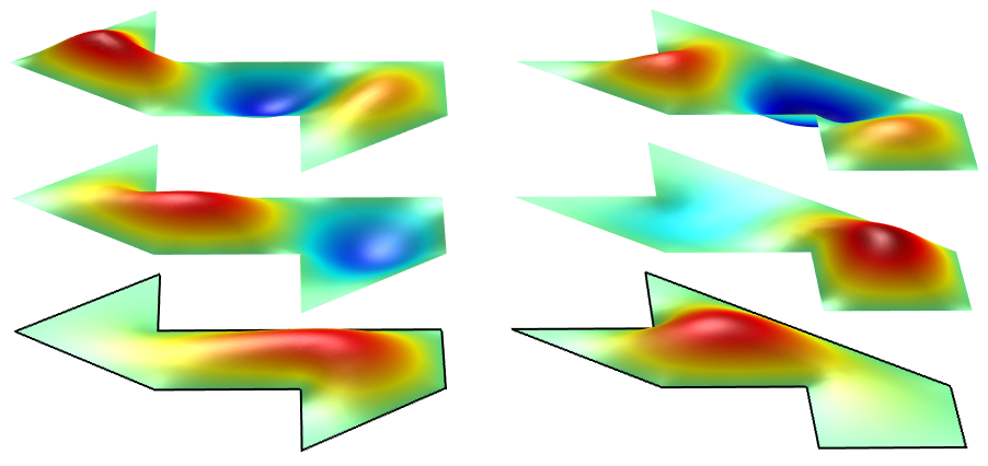 An illustration of three modes of two polygons with a shared set of eigenfrequencies.