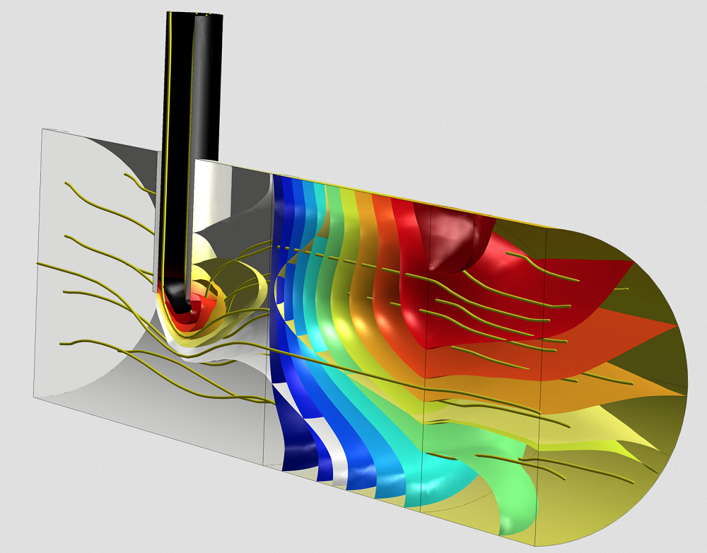 A COMSOL Multiphysics model of a porous reactor with injection needle.