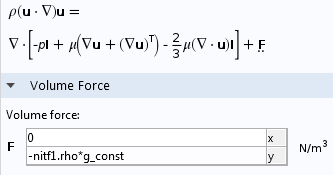 Buoyancy force settings in COMSOL Multiphysics.
