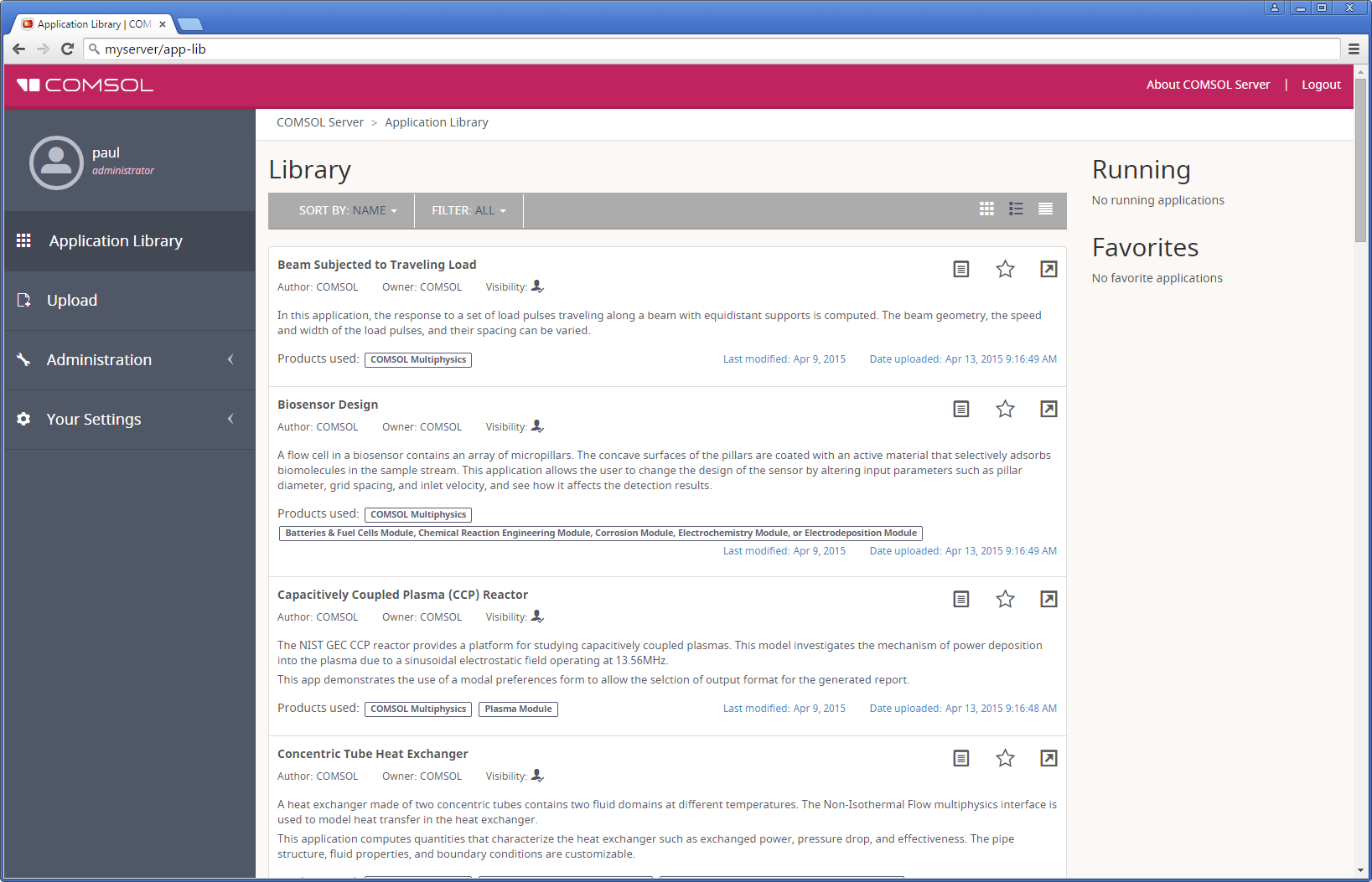 A screenshot of the COMSOL Server Application Library.