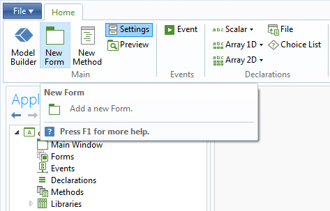 A screenshot showing the creation of a new form with the Application Builder.